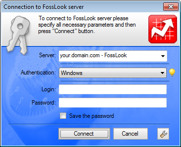 Login Dialogue to FossLook EDMS using the Windows domain login