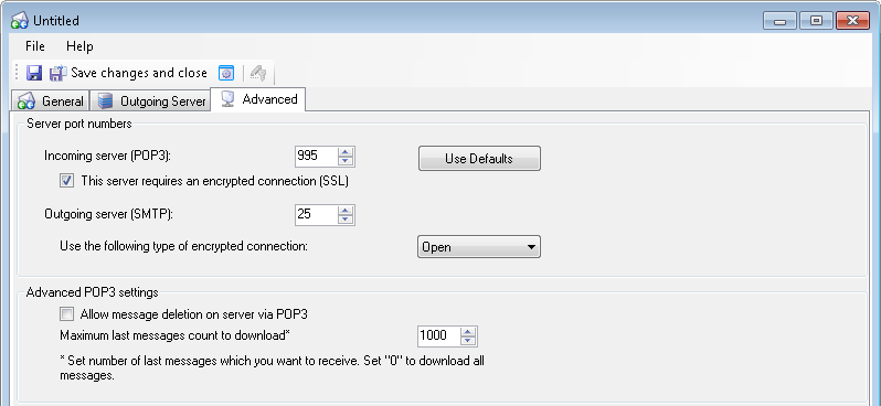 Additional manual configuration of your external mail server account, 'Advanced' tab