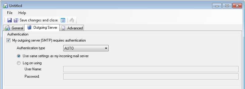 Manual configuration of your outgoing mail server (SMTP), 'Outgoing Server' tab