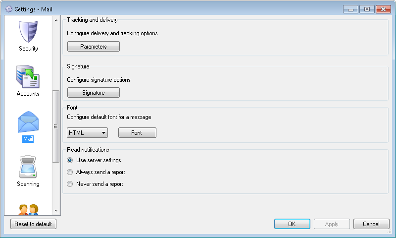 Mail settings dialog