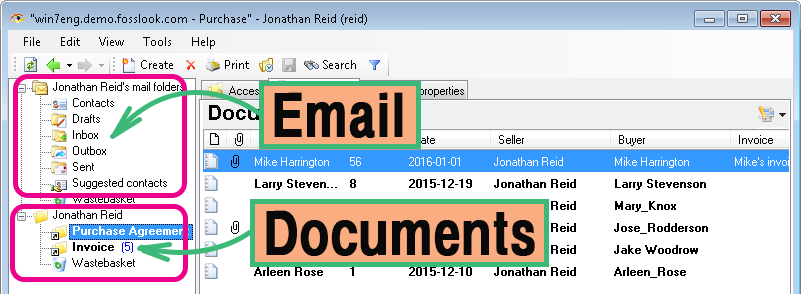 Corporate email client: mail and documents in one application