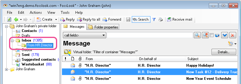 Virtual folder as a filter for email messages