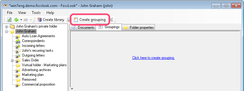 Creating Grouping in FossLook