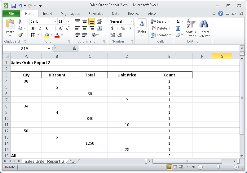 Exported report in Excel