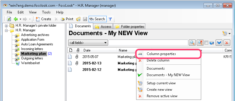 Selecting column properties from the context menu