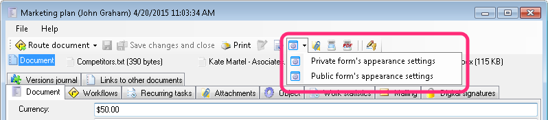 Setting up an administrative view in the document