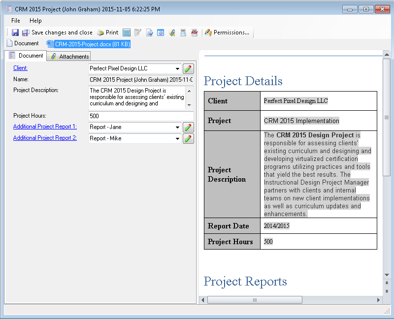 Finished 'CRM Project' document assembly in FossLook