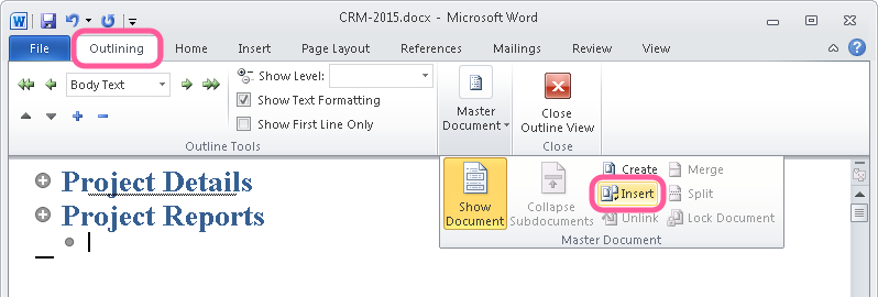 Outline mode in Microsoft Word