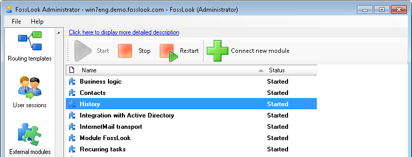 FossLook EDMS platform: Document history module