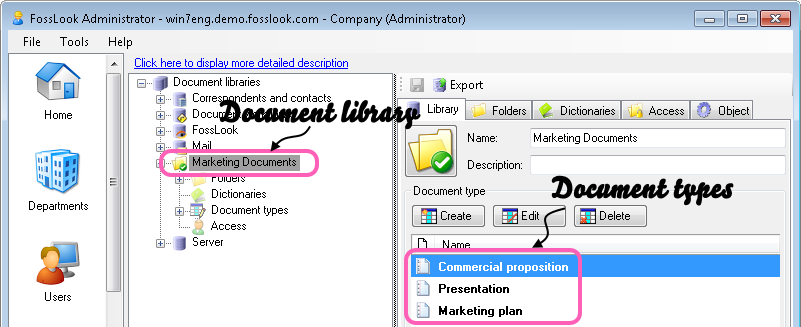 General view of the document libraries and documents