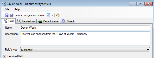 Select default value ​​for the Dictionary field