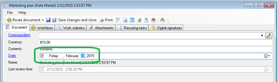 Changing document field's value