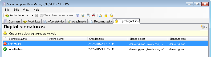 Signing a document by multiple users