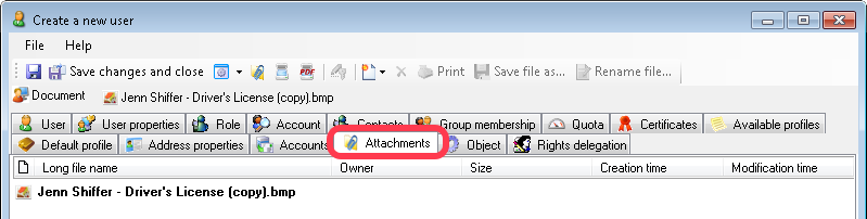 Employee's Attachments tab