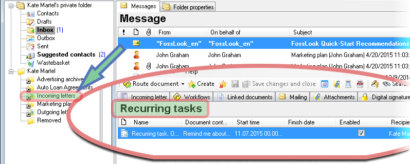 Converting email to an electronic document and setting a reminder on it