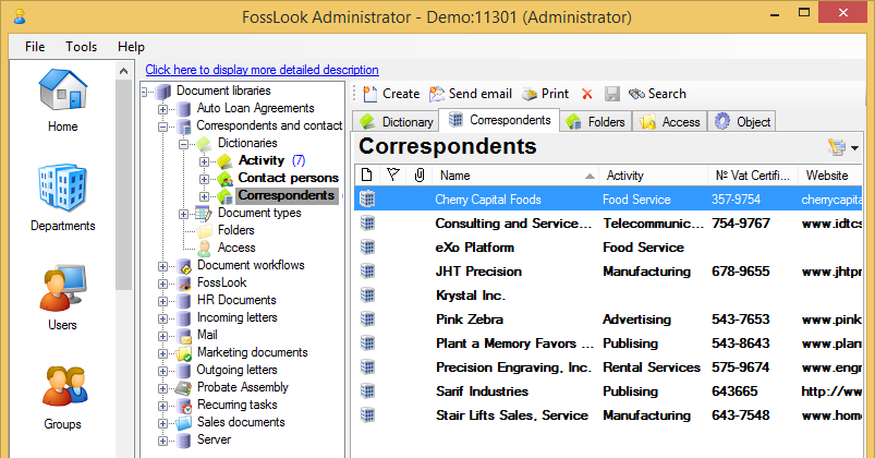 Using FossLook to keep your contacts