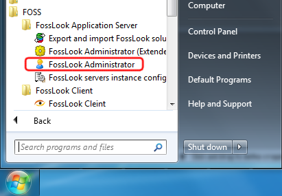 Windows Start button - FossLook folder - FossLook Administrator Icon