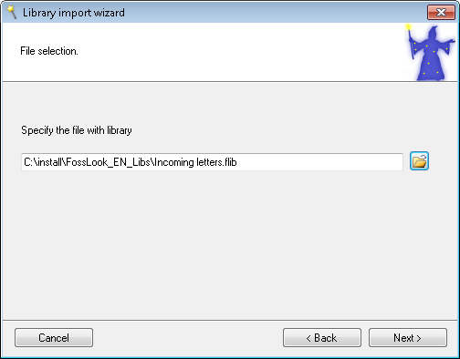 Select a Library File for Import
