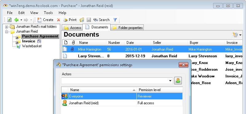 Setting up permissions for folders and documents