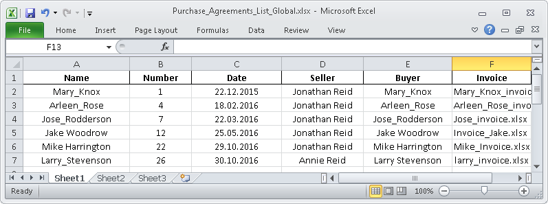 Tracking files in Excel