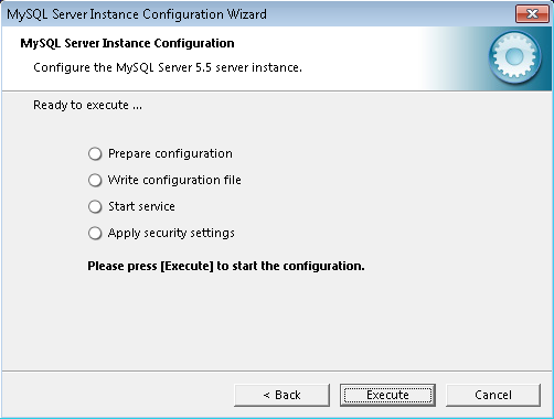 Finishing MySQL instance configuration