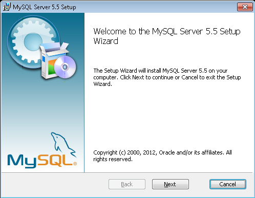 First page of the MySQL setup wizard