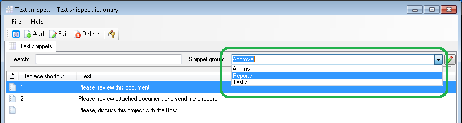 Groups of text snippets