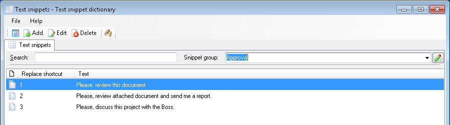 Group of text snippets