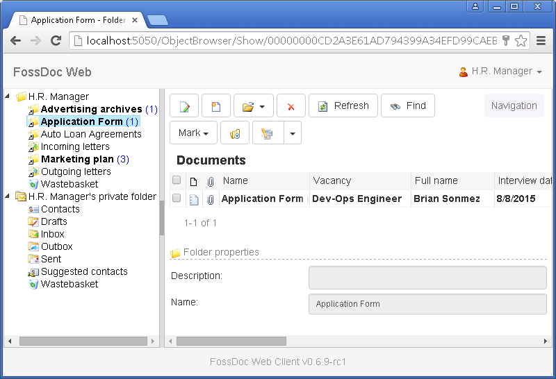 FossLook Web-based Client interface