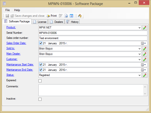 Software package document type example