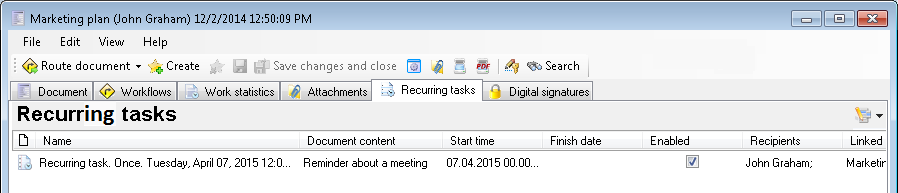 Recurring tasks tab