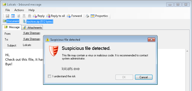 Security warning when opening a suspicious archive