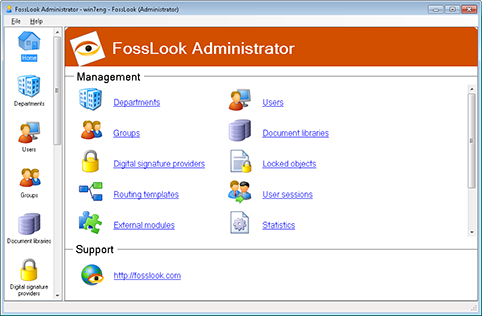 Administration console view