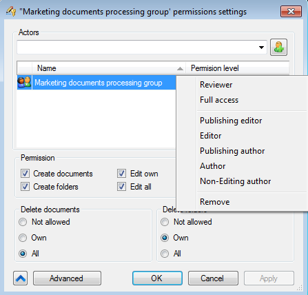 Options of access levels to EDMS FossLook folders and documents